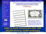 index to music manuscripts after 1600 456 000 items by 18 000 composers