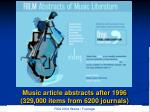 music article abstracts after 1996 329 000 items from 6200 journals
