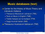 music databases text