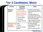 tier 2 candidates motor