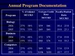annual program documentation