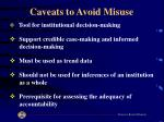 caveats to avoid misuse