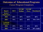 outcomes of educational programs career program completers