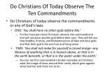 do christians of today observe the ten commandments