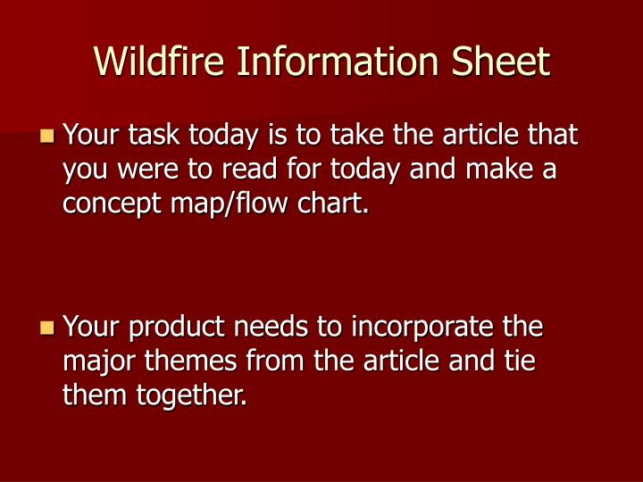 wildfire information sheet n.