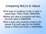 comparing null s to values