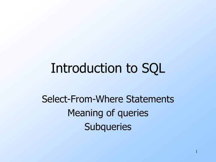 introduction to sql n.