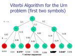viterbi algorithm for the urn problem first two symbols