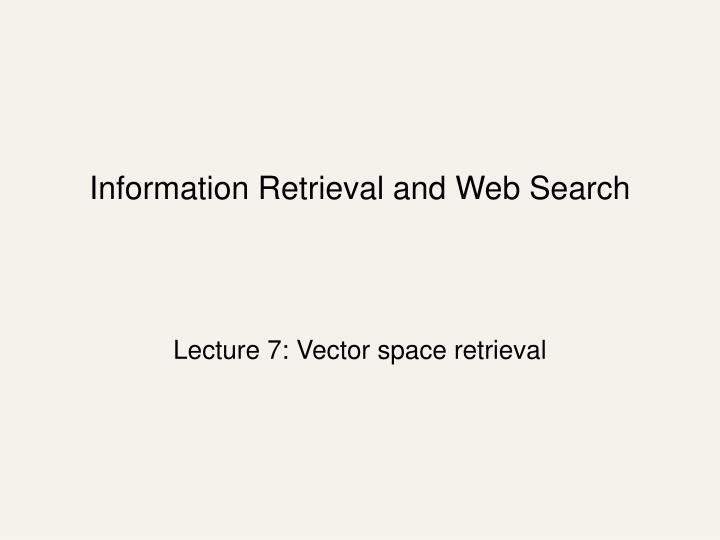 information retrieval and web search n.