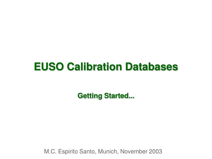 euso calibration databases n.
