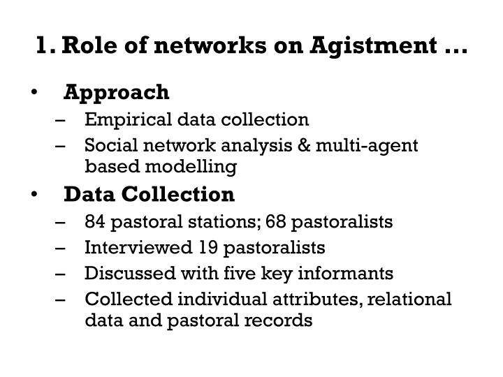 1 role of networks on agistment