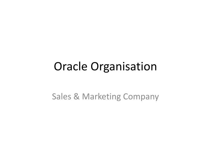 oracle organisation n.