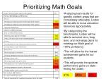 prioritizing math goals