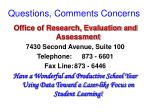 questions comments concerns