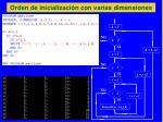 orden de inicializaci n con varias dimensiones