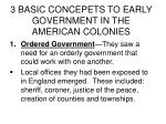 3 basic concepets to early government in the american colonies