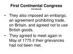 first continental congress continued