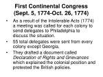 first continental congress sept 5 1774 oct 26 1774