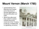 mount vernon march 1785