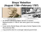shays rebellion august 1786 february 1787