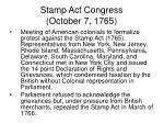 stamp act congress october 7 1765