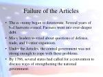 failure of the articles