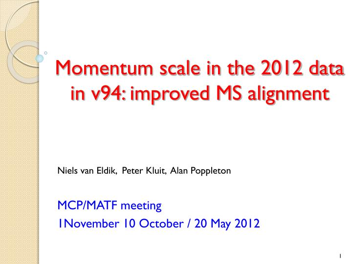 momentum scale in the 2012 data in v94 improved ms alignment n.