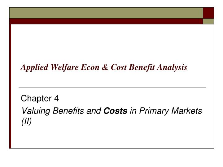 applied welfare econ cost benefit analysis n.