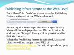 publishing infrastructure at the web level