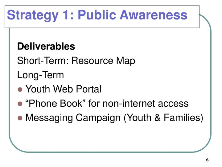 Strategy 1: Public Awareness