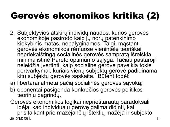 Gerovės ekonomikos kritika (2)