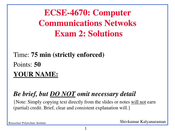 ecse 4670 computer communications netwoks exam 2 solutions n.