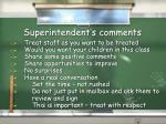 superintendent s comments