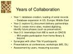 years of collaboration
