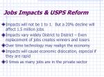 jobs impacts usps reform