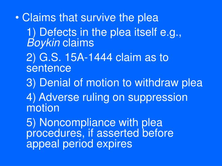 Claims that survive the plea