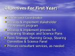 objectives for first year