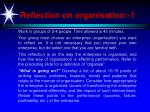 reflection on organisation 1