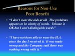 reasons for non use poor benefit1