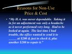 reasons for non use price cost3