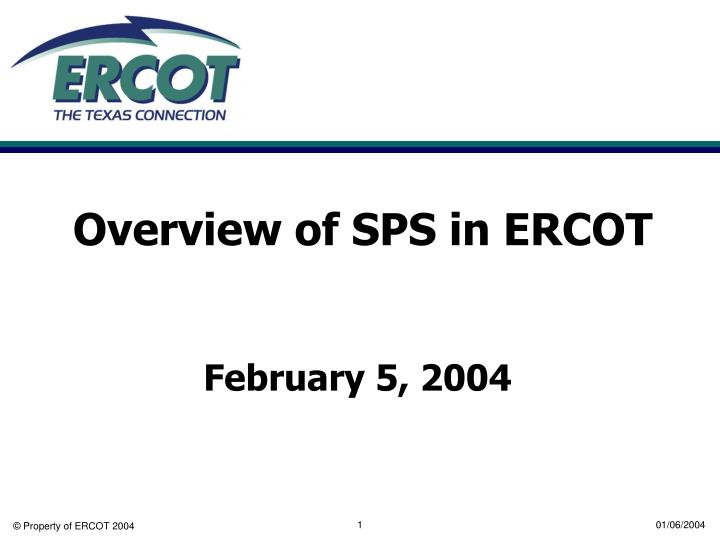 overview of sps in ercot n.