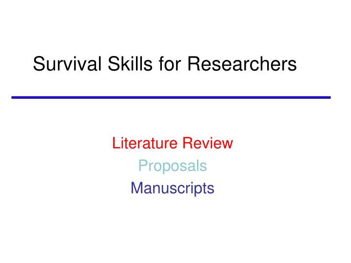 survival skills for researchers n.