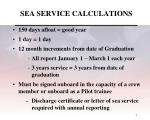 sea service calculations