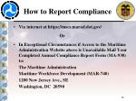 how to report compliance