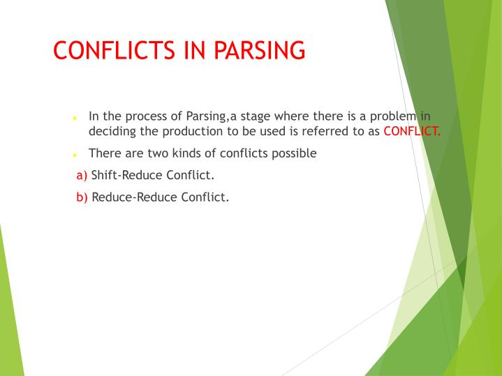 conflicts in parsing n.