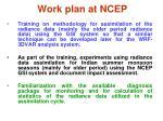 work plan at ncep