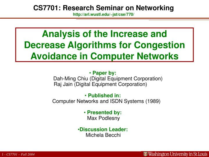 analysis of the increase and decrease algorithms for congestion avoidance in computer networks n.