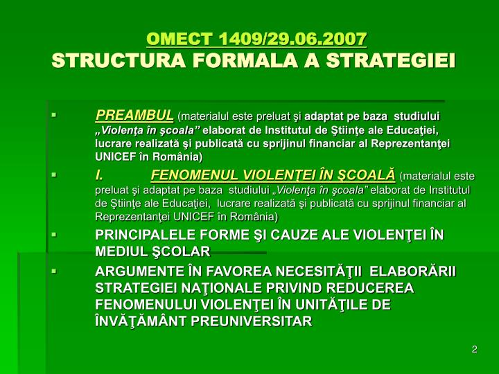 Omect 1409 29 06 2007 structura formala a strategiei