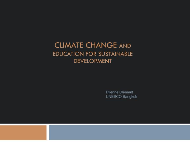 climate change and education for sustainable development n.
