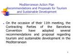 mediterranean action plan recommendations and proposals for tourism and sustainable development